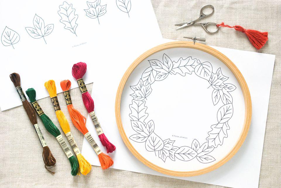 Leaf Border Embroidery Pattern
