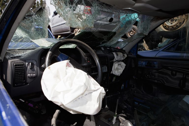 Inside Of A Car With Deployed Airbag
