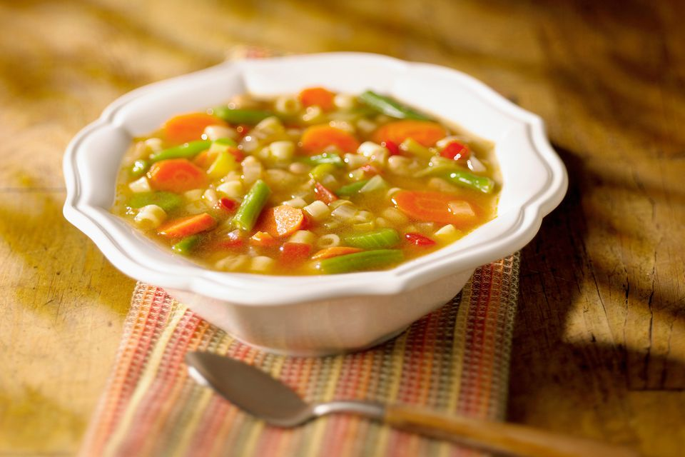 Vegetable soup made with beef broth