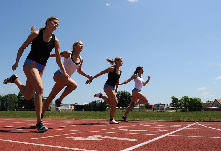 Women sprinting at 100 meters