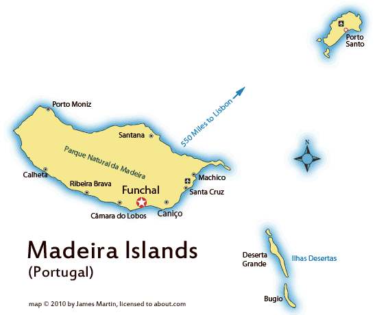 Madeira Island Location Map And Travel Guide - Map portugal madeira azores