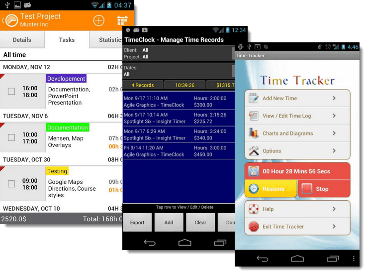 Top three apps for tracking time and expenses on your Android phone or tablet.