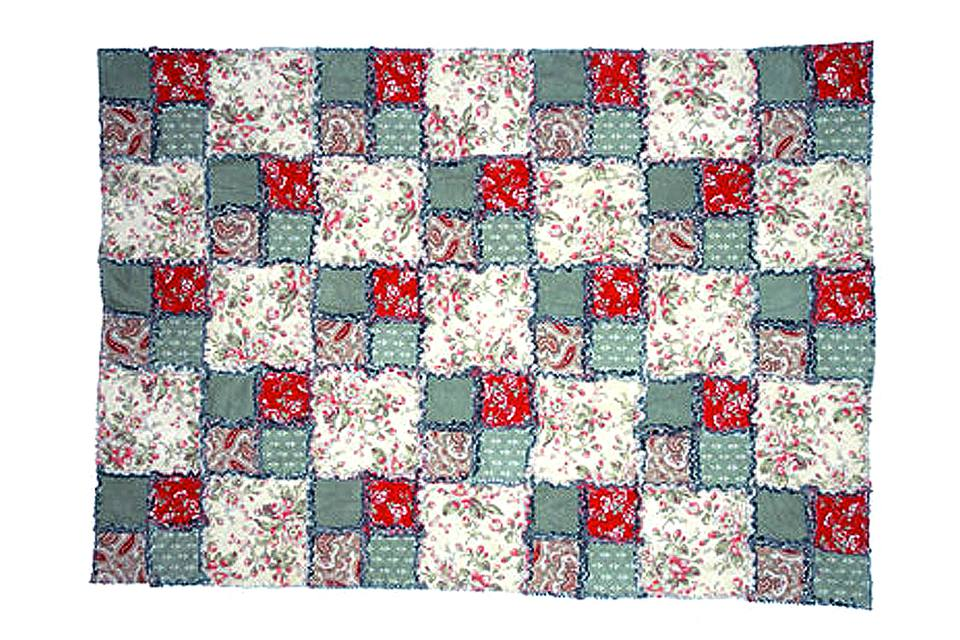 Easy Double Four Patch Rag Quilt Pattern