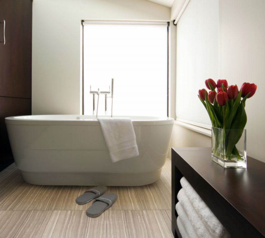 larger sized tiles make bathrooms feel less cramped matrix porcelain bathroom floor tile