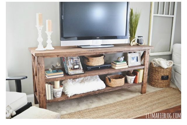 7 diy tv stands that hide ugly cable boxes and wires. Black Bedroom Furniture Sets. Home Design Ideas