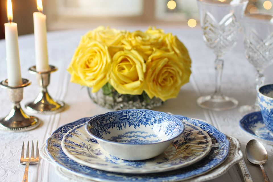 Place setting with vintage dinnerware.