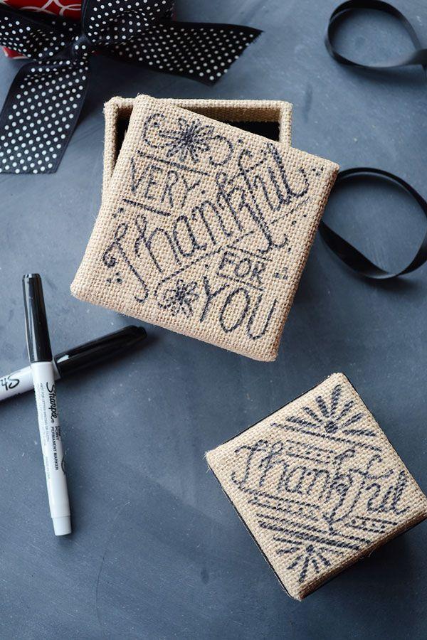 DIY Hand-Lettered Burlap Gift Box
