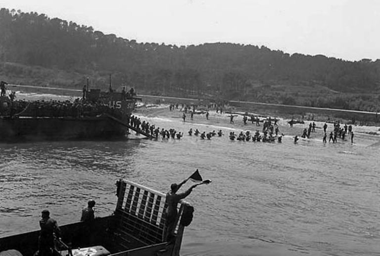 Coming ashore during Operation Dragoon.