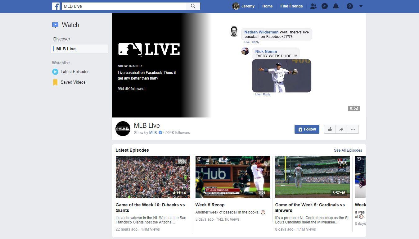 facebook watch live sports streams