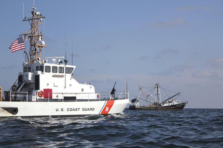 U.S. Coast Guard Cutter Marlin patrols the waters south of Pensacola Bay