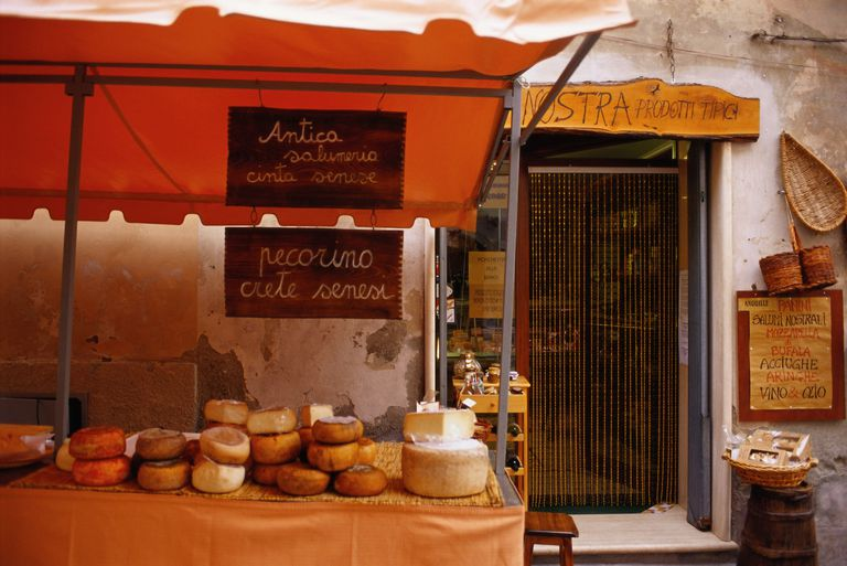 Italian cheese stall in Tuscany
