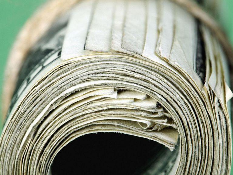 Roll of dollar bills, close up
