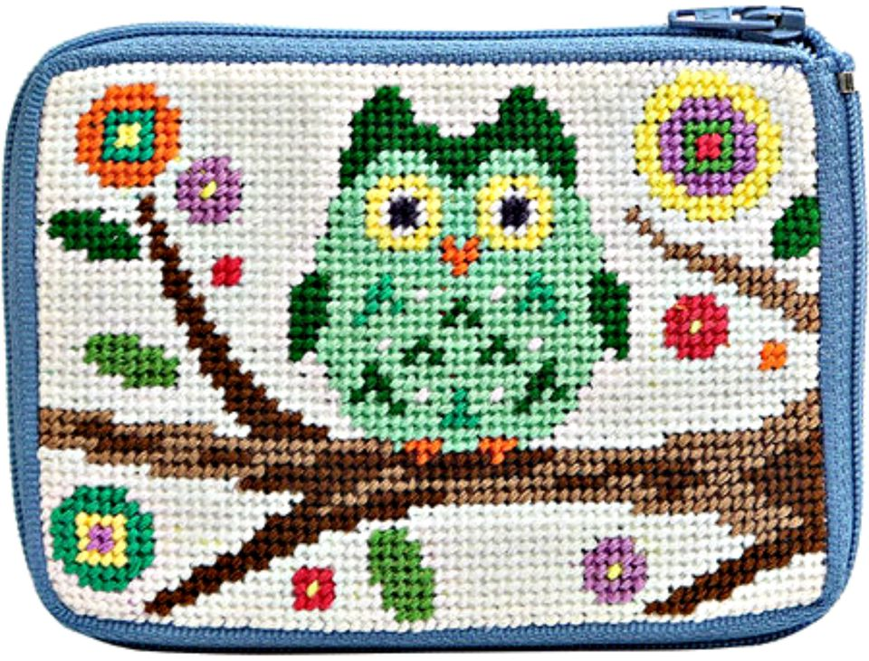 owl on branch needlepoint coin purse