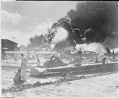 Picture of bomb damage at Pearl Harbor after the surprise Japanese aerial attack.