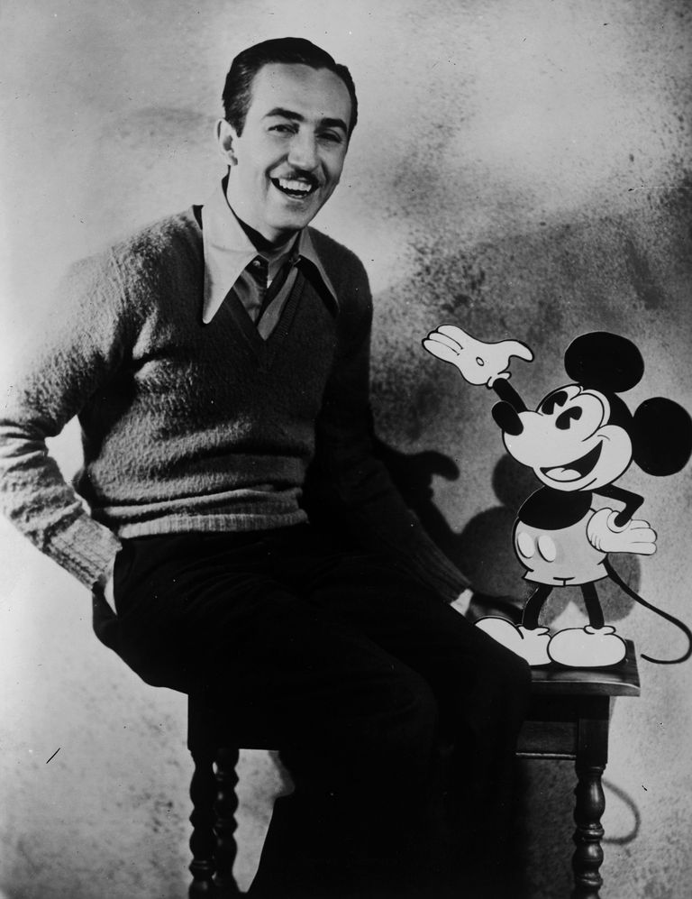 Picture of Walt Disney with Mickey Mouse.