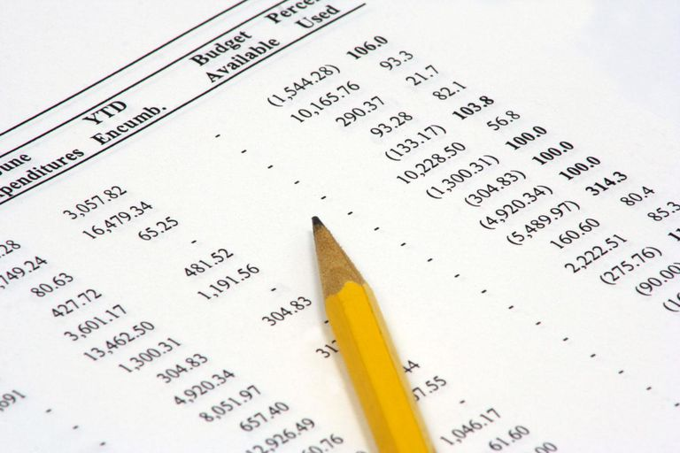 A close-up view of a budget performance spreadsheet with with a pencil sitting on it. The numbers are actually real budget figures, but there's no identifying words or symbols.