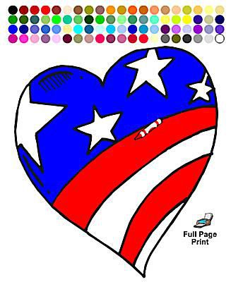Memorial Day Coloring Pages A Blue And Red American Flag In The Shape Of Heart
