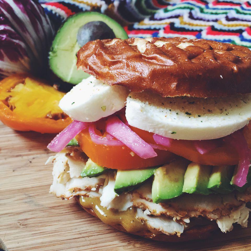 Chicken and Avocado Pretzel Sandwich