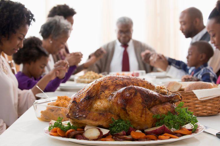 Family saying grace at Thanksgiving.