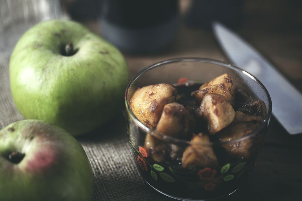 Pot of stewed apples