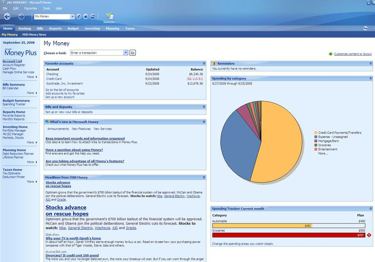 Microsoft Money Sunset Deluxe dashboard screengrab