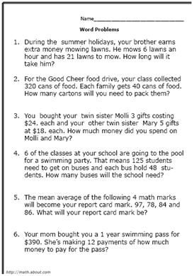 Free Math Word Problem Worksheets for Fifth-Graders
