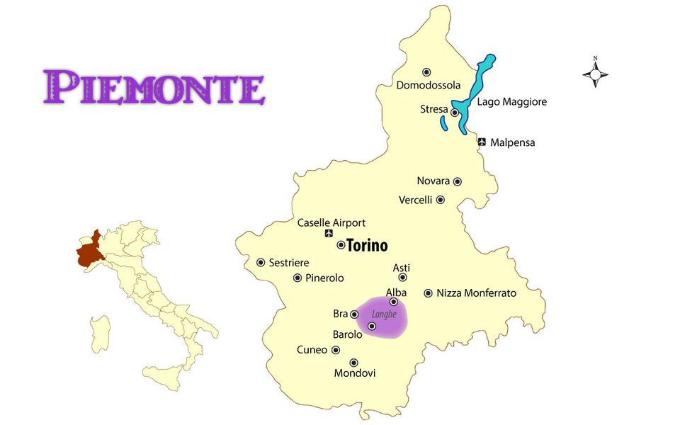 Piemonte Italy Map with Cities and Travel Guide