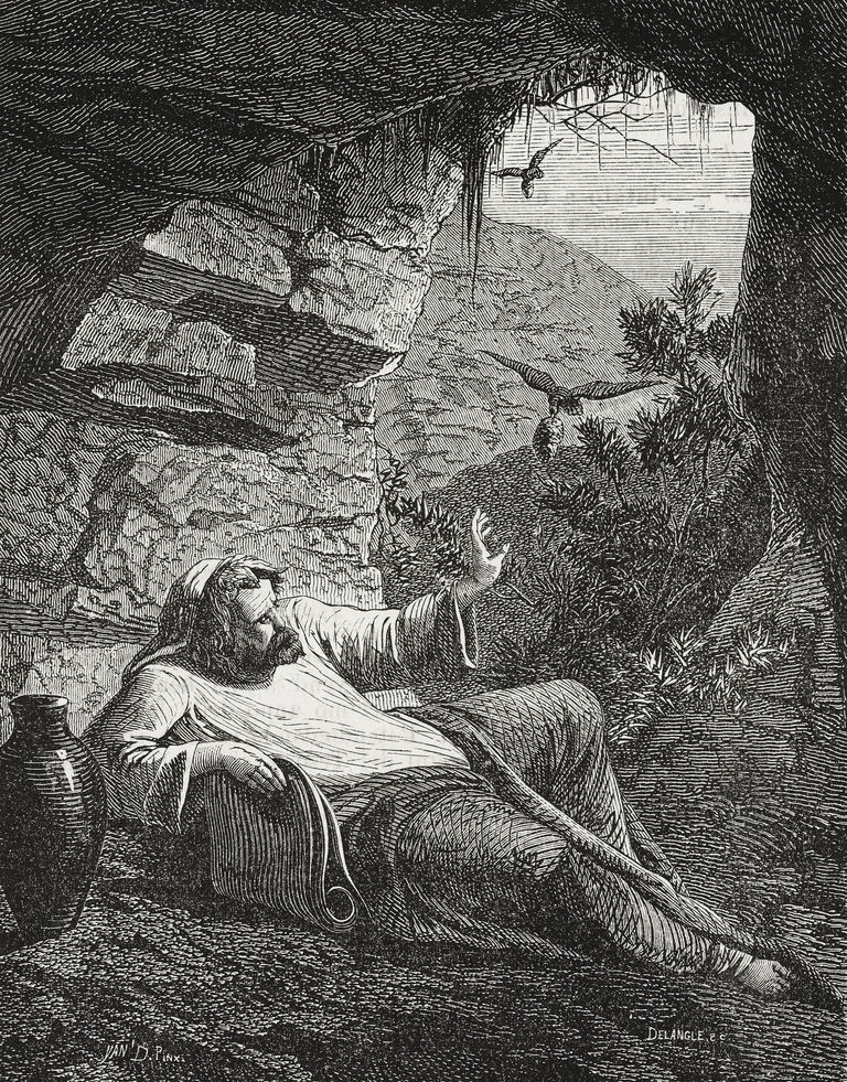 Prophet Elijah in desert, from engraving by Delangle, illustration from Il Giornale Illustrato, Year 3, No 9, March 3-10, 1866