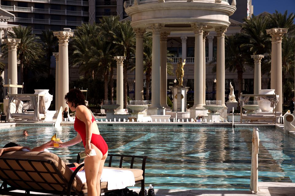 Swimming pool at Caesars Palace.