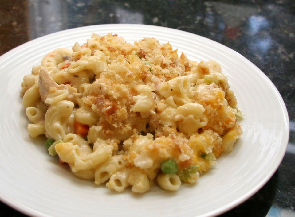Family tuna casserole with macaroni and cheese recipe for Tuna fish casserole recipe