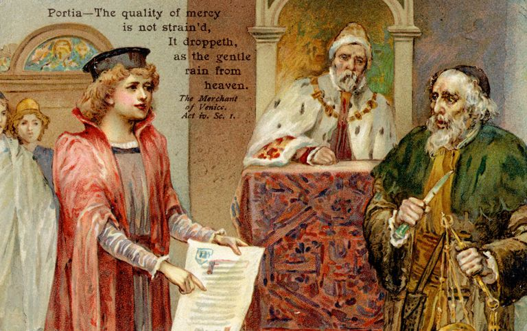 Illustration of Portia presenting a case in Shakespeare's The Merchant of Venice
