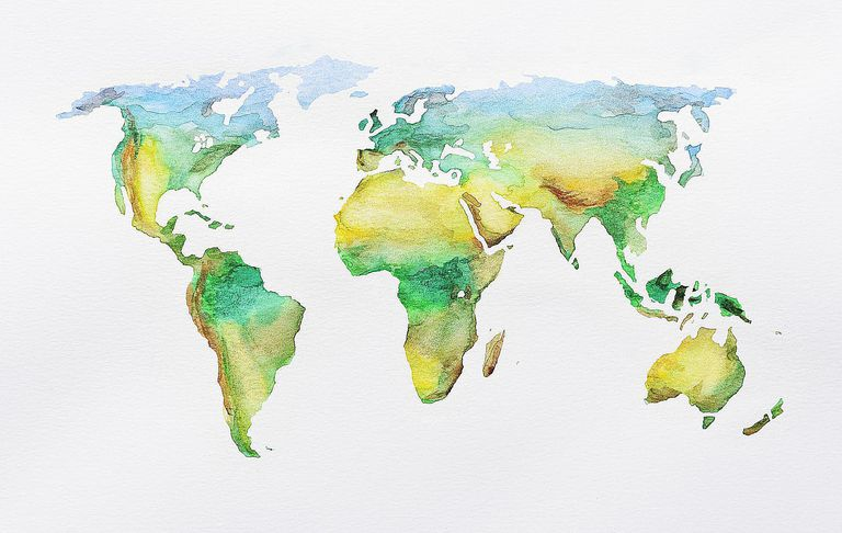 Watercolour world map showing physical features