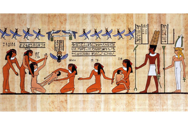 Papyrus from 19th dynasty, Egypt, depicts mother giving birth, helped by servants and midwife