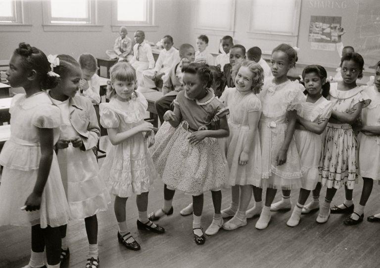 Black and white school children during integration