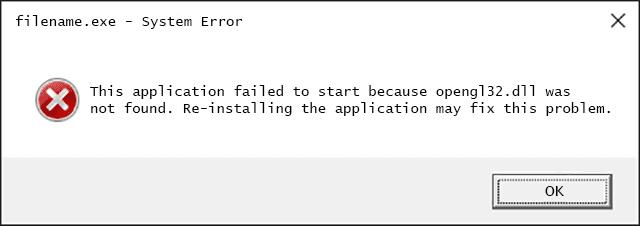 Opengl32.dll Error Message