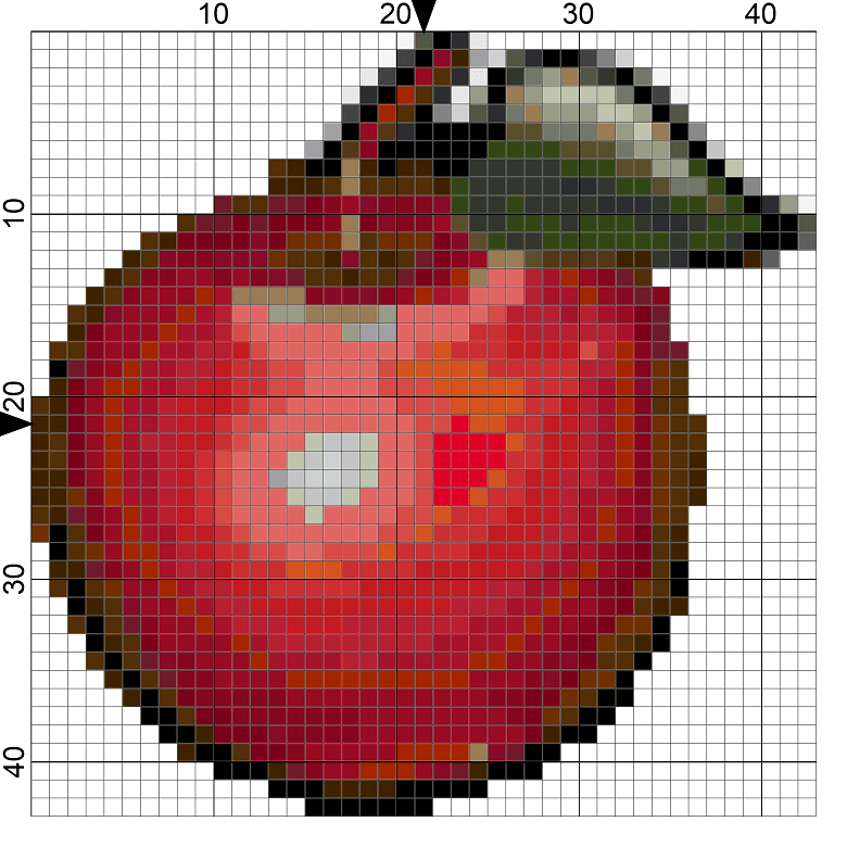 256Red Delicious Apple Needlepoint Design