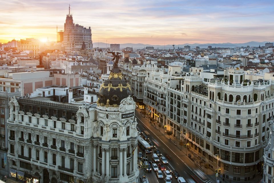 Skyline of Madrid with Metropolis Building