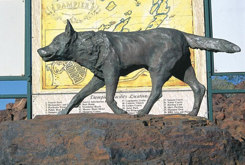 Statue honoring Red Dog in Dampier, Western Australia