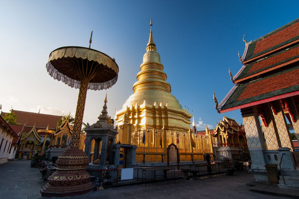 Golden pagoda in Thailand temple for buddhism at Chiangmai, Thailand.