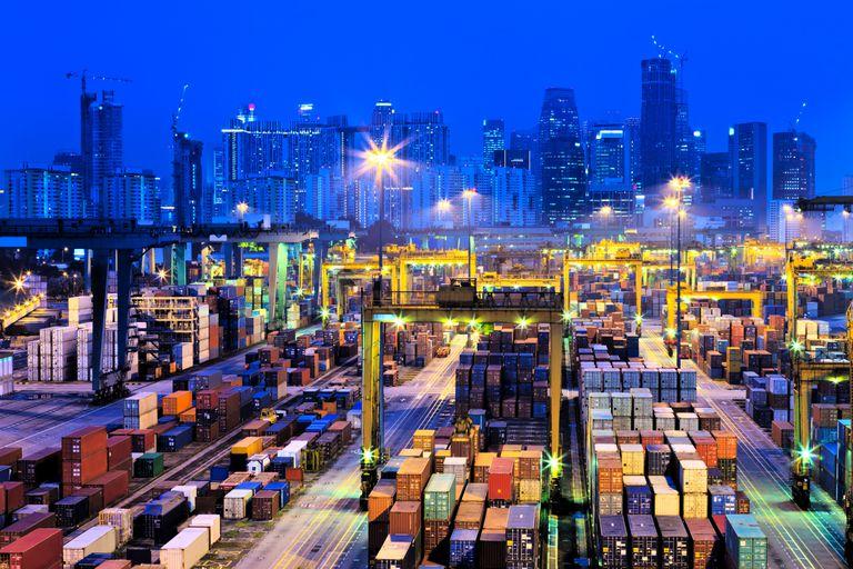 Trade cargo ships