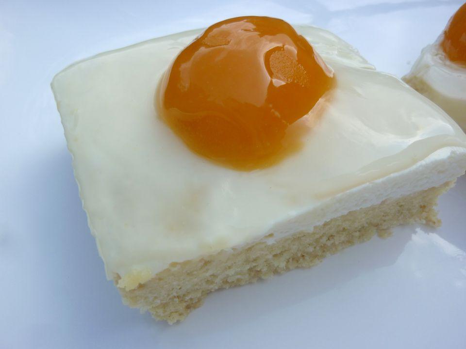 Fried EggCake (Spiegeleierkuchen) Vanilla custard with apricot halves