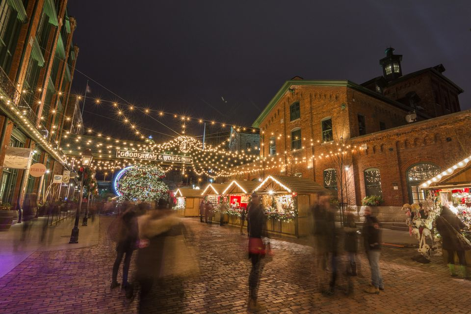 Toronto Christmas market in the Distillery district, Toronto, Ontario, Canada, North America