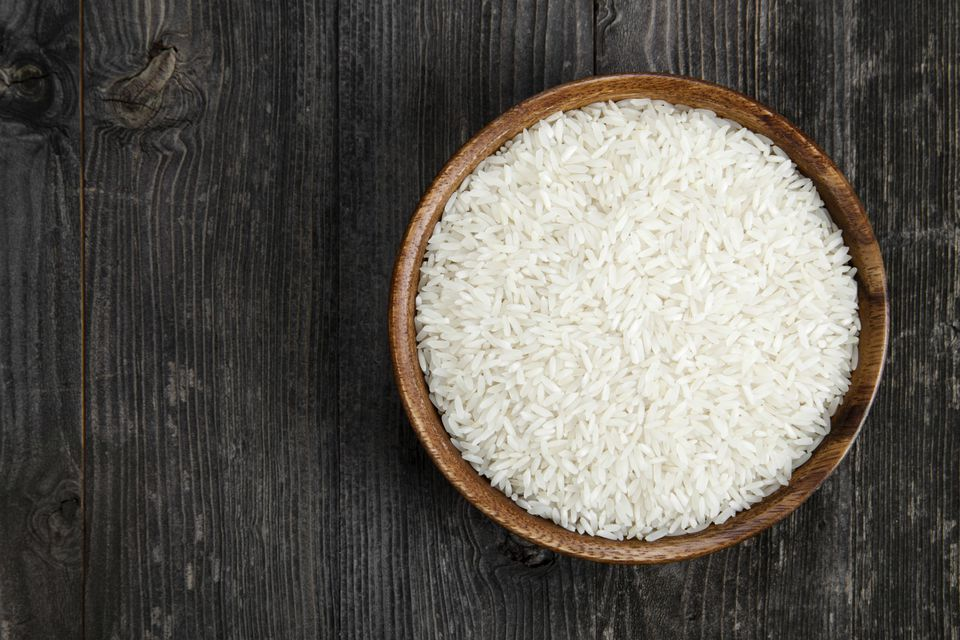 Rice in wooden bowl