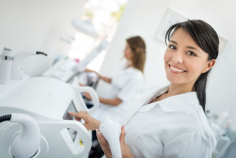 Dermatologist working at a spa
