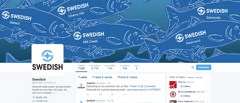 Screenshot of Swedish Health System's Twitter Account