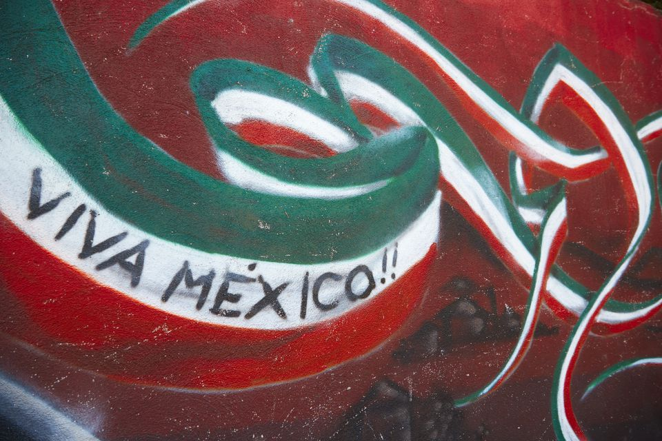 Wall painted to celebrate colors of Mexican flag, Mexico