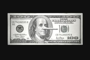 One-hundred dollar bill showing Benjamin Franklin with a long nose