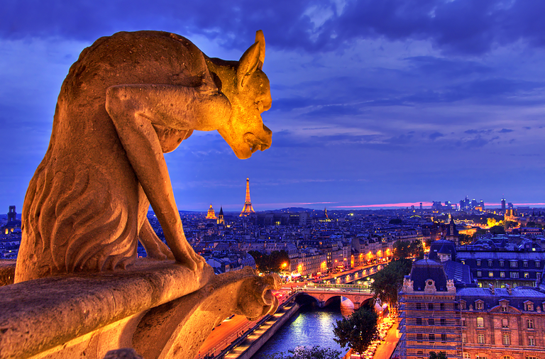 A gargoyle overlooks Paris