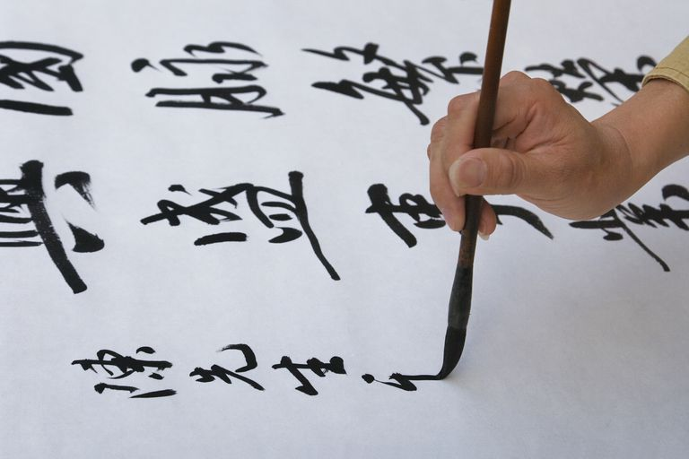woman writing Chinese characters
