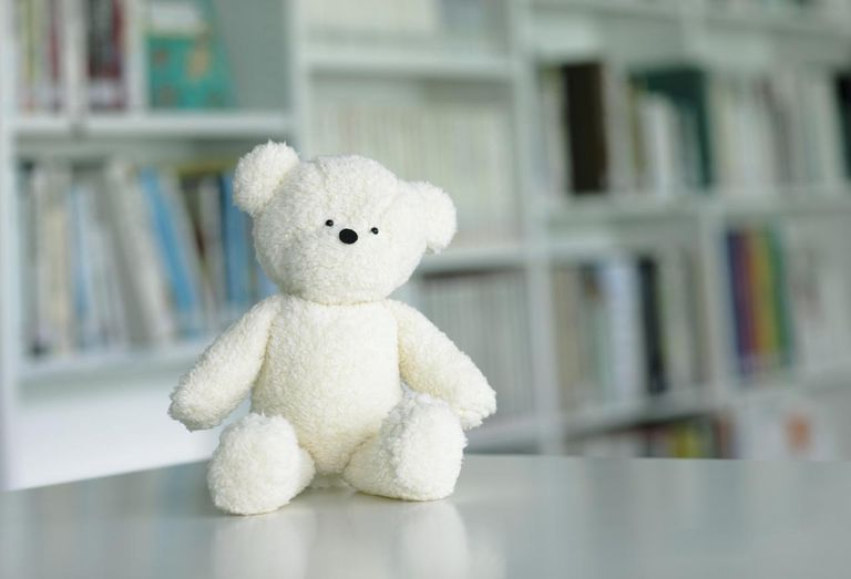 Teddy bear in library